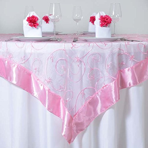 Efavormart Pink Organza Embroidered Square Tablecloth Overlay 72
