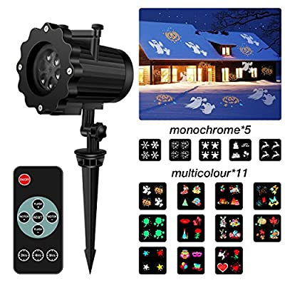 LED Projector Light,SGODDE Christmas Halloween Projection Light with 16 Interchangeable Slides and Remote Control,Waterproof Landscape Spotlight , Outdoor&Indoor Decoration Lighting for Party ,Holiday