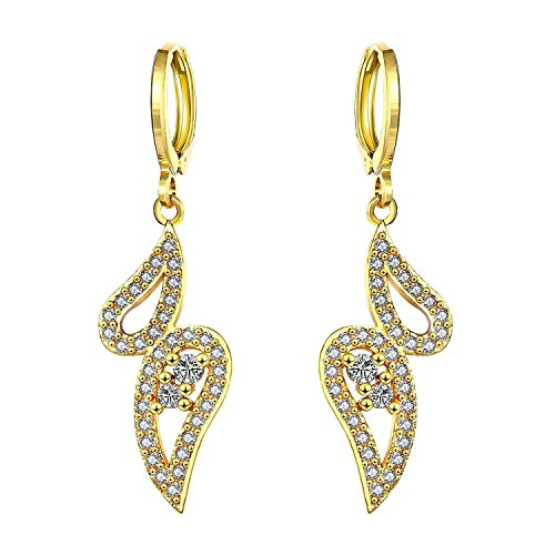 Lureme European Retro Style Gold Tone over Brass Hollow Infinite Shape with Zircon Dangle Earring for Girl and Women(02004458-parent) (KC gold) -