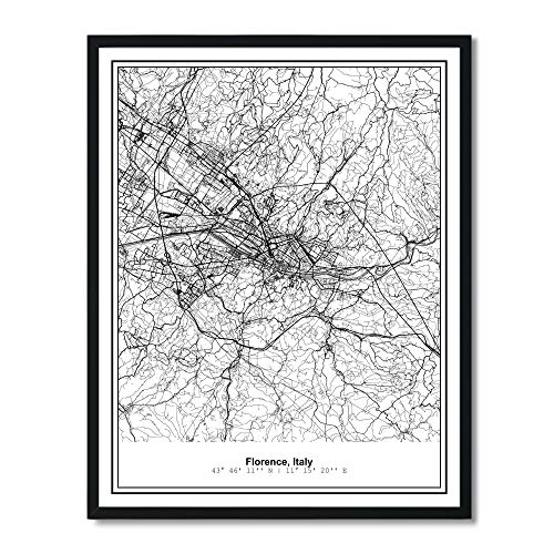 Susie Arts 11X14 Unframed Florence Italy Metropolitan City View Abstract Street Map Art Print Poster Wall Decor - Print Map Poster Art