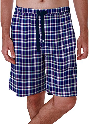 - IZOD Men's Yarn Dyed Multi Color Woven Plaid Sleep Short, Navy, Large