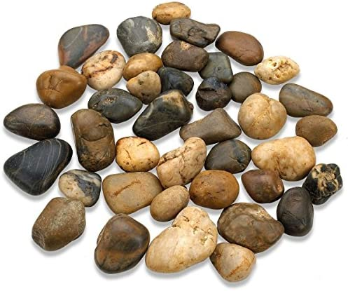 Katzco 2 Pounds Large Decorative River Rock Stones – Natural Polished Mixed Color Stones -Use in Glassware, Like Vases, Aquariums and Terrariums to Enhance The Appearance, by