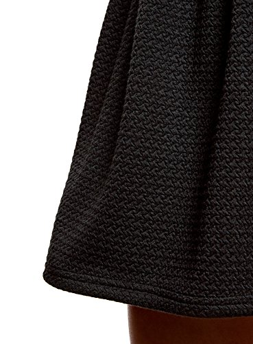Tissu oodji Textur Femme Jupe Noir avec Ultra Ceinture en 2900n lastique RaZIZxAwqr