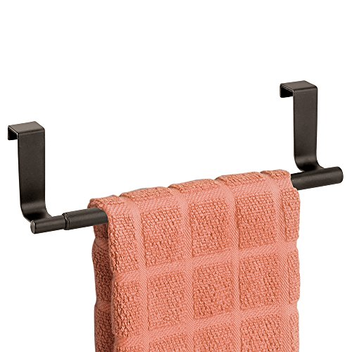 mDesign Decorative Kitchen Over Cabinet Expandable Towel Bar – Hang on Inside or Outside of Doors, for Hand, Dish, and Tea Towels - Bronze Finish
