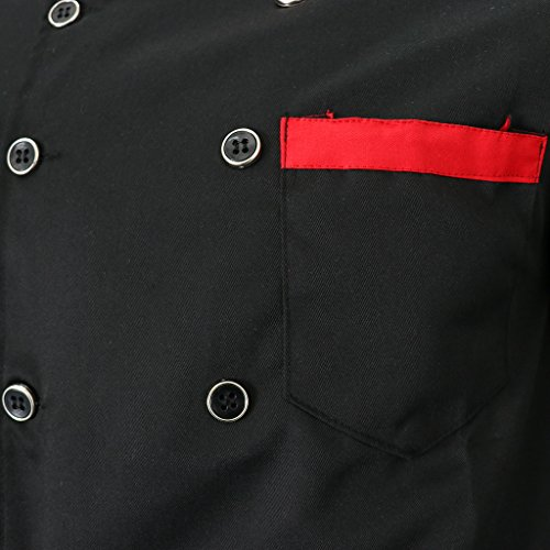 Simple Sharplace Uniforme Professionnel Adulte Manches Serveur Hôtel Confortable Design Manteau Noir À Unisexe Longues Chef Veste r4Px1wrHq0
