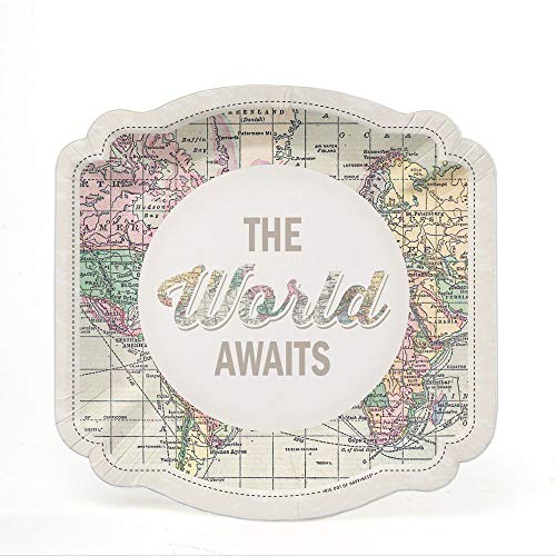Dessert Plates Road - World Awaits - Travel Themed Party Dessert Plates - 16 Count