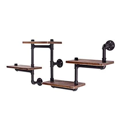 Furniture Cabinets, Racks & Shelves Simple Office Home Storage Rack Shelves retro wall hanging industrial wind wrought iron rack bar water pipe solid wood bookshelf wall wall American silver shelf