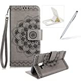 Rope Leather Case for Samsung Galaxy A8 2018,Strap Wallet Case for Samsung Galaxy A8 2018,Herzzer Bookstyle Classic Elegant Mandala Flower Pattern Stand Magnetic Smart Leather Case with Soft Inner for Samsung Galaxy A8 2018 + 1 x Free White Cellphone Kickstand + 1 x Free Silver Stylus Pen - Gray