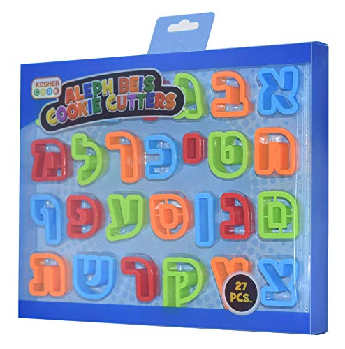Aleph Bet Cookie Cutter Set - Plastic, Large, 27 Letters of Hebrew Alphabet - Rolled Edges, Hand Wash Only - by The Kosher Cook
