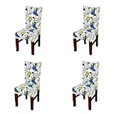 #5: Jiuhong Stretch Removable Washable Short Dining Chair Protector Cover Slipcover, Style 11, 4 Pack