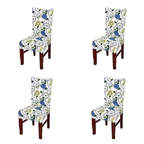 Jiuhong Stretch Removable Washable Short Dining Chair Protector Cover Slipcover, Style 11, 4 Pack