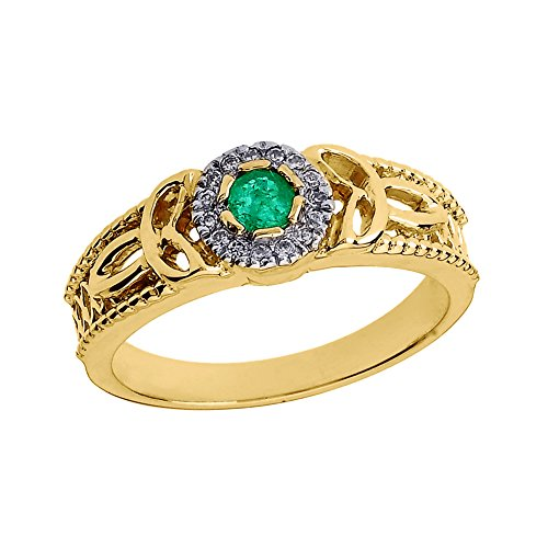 - 14k Yellow Gold Emerald and Diamond Ladies Trinity Knot Proposal Ring (Size 7)