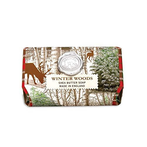 Michel Design Works Oversized Triple Milled Shea Butter Bath Soap Bar, Winter Woods - Lilac Shea Butter
