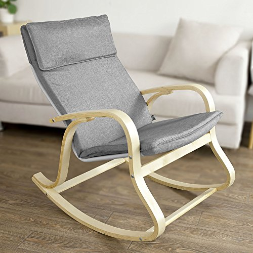 SoBuy Comfortable Relax Rocking Chair, Gliders, Lounge Chair with Cotton Fabric Cushion,FST15-DG,grey