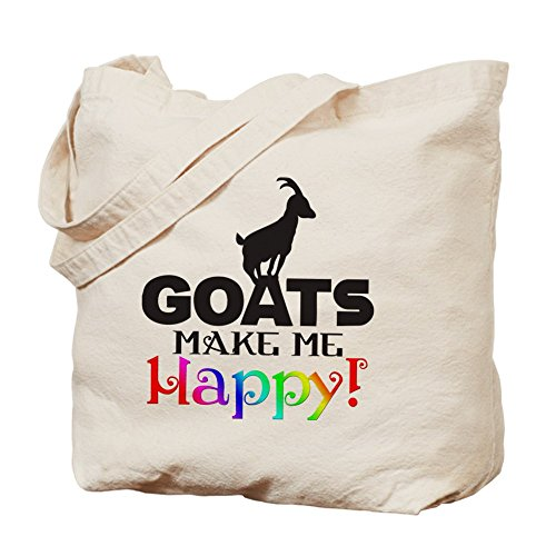 Cafepress–capre make me Happy–Borsa di tela naturale, tessuto in iuta