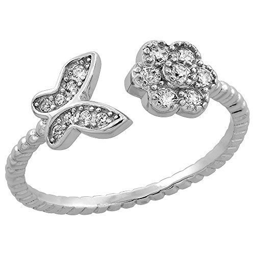 Sterling Silver Cubic Zirconia Dainty Flower & Butterfly Ring Micro Pave Open 1/4 inch Long, size 9 ()