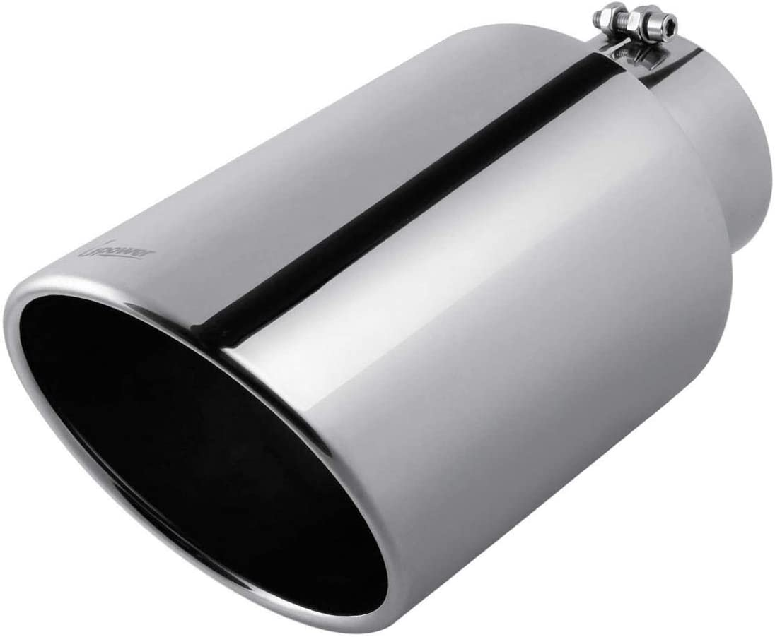 """Exhaust Tip 5/"""" Inlet 8/"""" Outlet 15/"""" Long Black  Stainless Steel Bolt On"""
