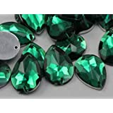 18x13mm Emerald CH18 Teardrop Flat Back Sew On Beads for Crafts - 50 Pieces