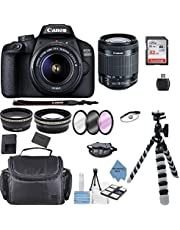Canon EOS 3000D/Rebel T100/ EOS 4000D Kit with EF-S 18-55mm f/3.5-5.6 III Lens + Accessory Bundle +TopKnotch Deals Cloth