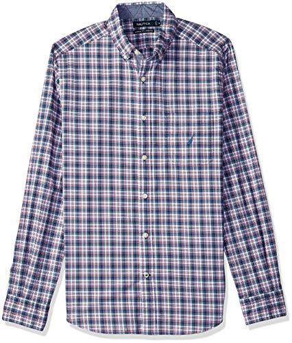 Nautica Camisa de Manga Larga con Botones a Cuadros para Hombre, Ajuste clásico, Ensign Blue-1, Medium