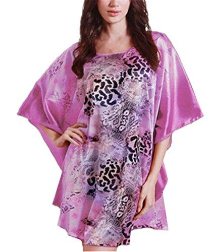 Stampa Notte Pigiama Camicia Vestito Purple Donna Besthoo Scivoloso Corta Floreale Pipistrello Maniche Sleepwear Abito Femminili A Da pTREqvxw6