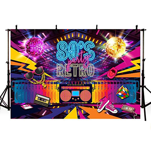 (MEHOFOTO Retro Back to 80s Themed Party Decorations Banner Photo Studio Booth Background Hip Hop Disco Backdrops for Photography 7x5ft)