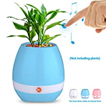 HiOrange Music Flower Pot, Smart Touch Plant Pot Piano Wireless Bluetooth Speaker with Colorful LED Night Light for Home,Garden and Office((With Tray and Without Plant)-Blue