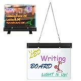 Neon LED Message Writing Board, 11.8 x 8.6inch Flashing Illuminated Erasable Menu Sign Writing Board