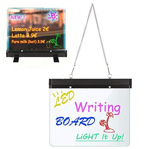 Neon LED Message Writing Board, 11.8 x 8.6inch Flashing Illuminated Erasable Menu Sign Writing Board by evokem