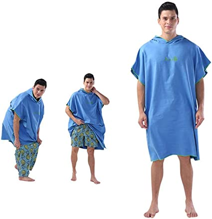 Surf Poncho Towel/Hooded Water Absorbent Changing Wetsuit Microfiber Beach Bath Robe Quick Dry Surfing Swimming Bathing for Adults/Men Women