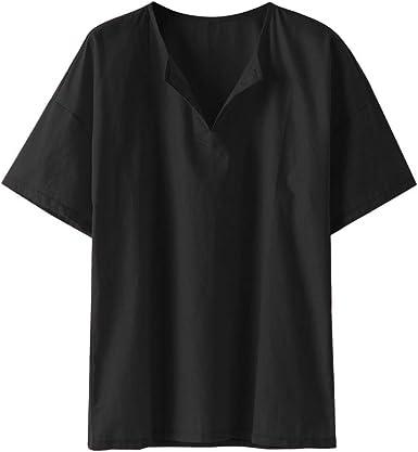 Mens Linen Summer Short Sleeve Shirts Brief Solid Color Thin Casual T Shirt Top Teresamoon