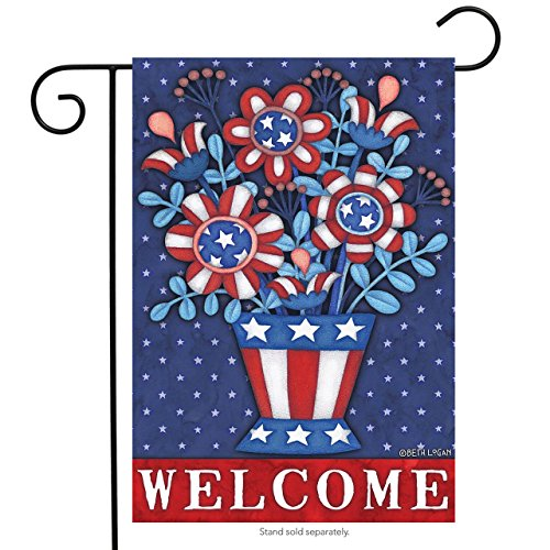 Briarwood Lane Patriotic Planter Welcome Garden Flag Red White and Blue Floral 12.5