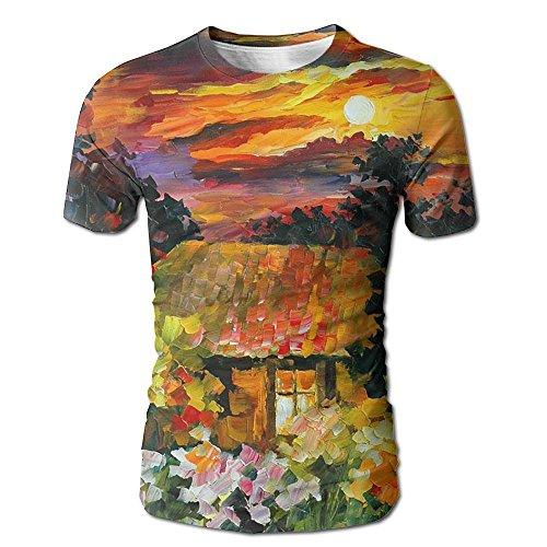 Beautiful Forest Hut Sunset Summer Men Summer Casual T Shirt Graphic Bright Short Sleeve - Sunset Hut