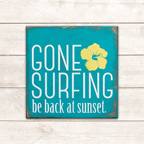 wonbye Wooden Signs with Sayings, Beach Decor, Surf Decor, Surf Sign, Beach Wood Signs, Beach Signs Decor, Beach Decor Coastal, Beach Life, Beach Signs, Gone Surfing Sign