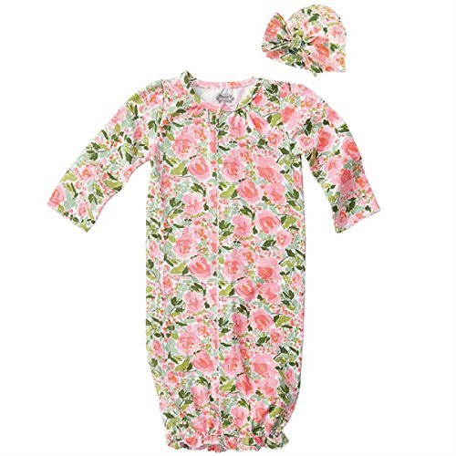 Gown Convertible Set (Mud Pie Baby Girls Floral Convertible Sleepgown & Hat Set, Pink, Newborn)