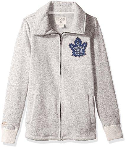 (adidas NHL Toronto Maple Leafs Womens CCM Fleece Track Jacketccm Fleece Track Jacket, Grey Heathered, Small)