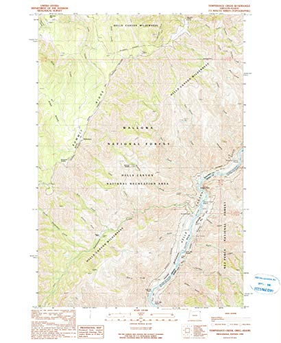 YellowMaps Temperance Creek OR topo map, 1:24000 Scale, 7.5 X 7.5 Minute, Historical, 1990, Updated 1990, 26.8 x 22 in - Tyvek