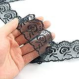 ZYAMY 10 Yard Black Elastic Lace Ribbon Floral Lace