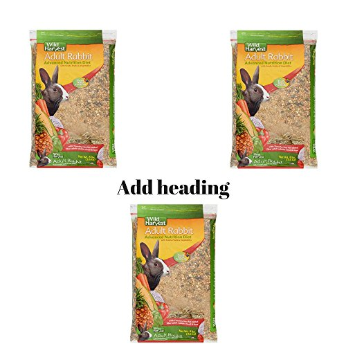 Wild Harvest Rabbit 8lb This Rabbit Food Provides Essential Dietary Variety, Great Taste And Balanced Nutrition. Pack of 3 by Wild Harvest