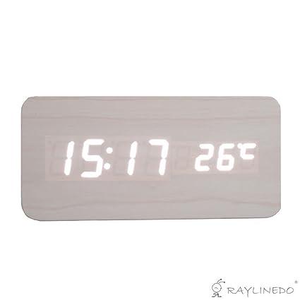 RayLineDo® Latest Design Fashion USB/AAA White Wood White LED Light Wooden Digital Alarm