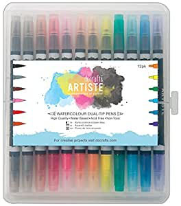 docrafts Artiste Watercolor Dual Tip Pens, Brush and Marker, 12-Pack