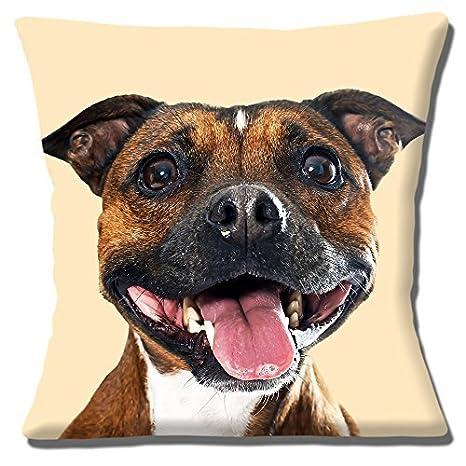 Perro Staffordshire Bull Terrier Funda De Cojín 16 pulgadas ...