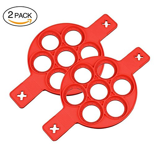 2PACK Upgrade New Silicone Pancake Molds Non Stick Egg Mold Ring Pancake Maker Reusable and Flipper Kitchen Tool Utensil (Flipper Rings)