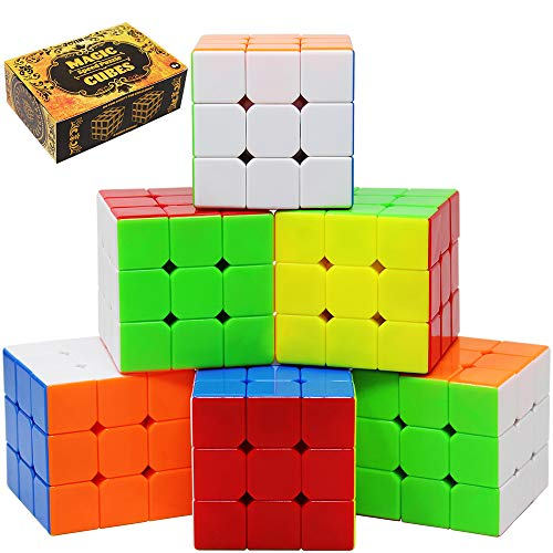 (Speed Cube 6 Pack Magic Cube 3x3x3 Cube; Easy Smooth Turning Stickerless Anti-Pop Structure and Durable Puzzle Toys for All Age Kids and Adults, Professional Plays)