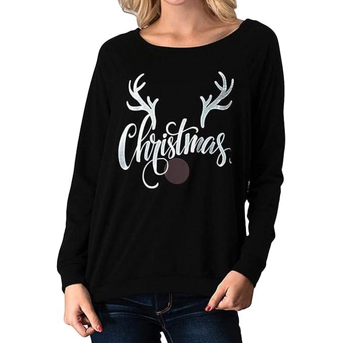 Toamen 2018 Camiseta De Moda OtoñO, Blusa con Estampado De Cabeza De Alce De Navidad