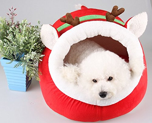 Kailan ® Chistmas Reindeer Cute Dog Cat Bed House Warm Pet Nest Rabbit Luxury House Dimensions: 17.3