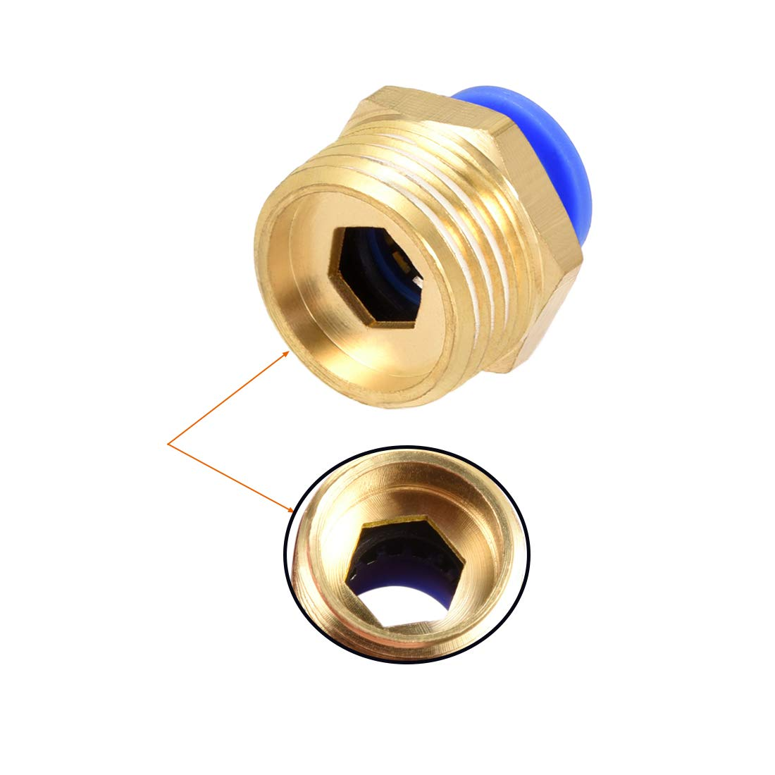 uxcell 5PCS 1//8 PT Male Thread to 4mm Tube Push in Connect Straight Quick Fittings