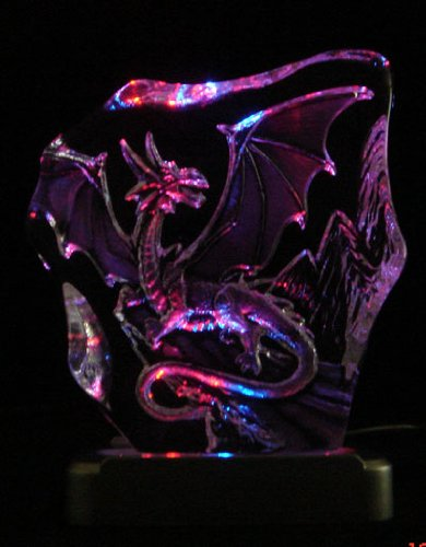 Engraved lead crystal Western Dragon on LED color light ()
