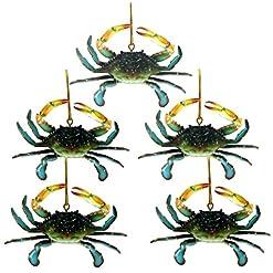 Beach Themed Christmas Ornaments Chesapeake Bay Maryland Blue Crab Christmas Ornament Set of 5 beach themed christmas ornaments
