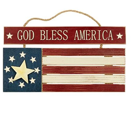 God Bless America Patriotic Flag Wood Welcome Sign Hanger